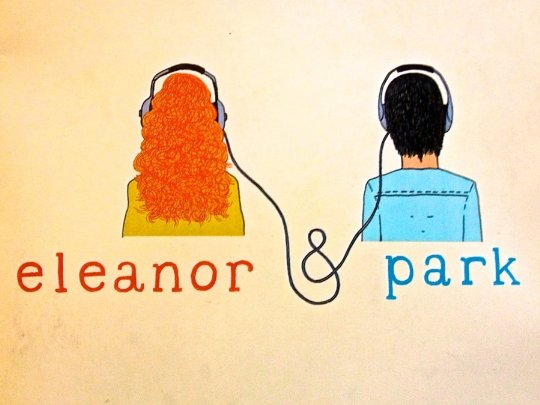 The cover of 'Eleanor and Park' by Rainbow Rowell, showing a young boy and girl listening to a walkman.