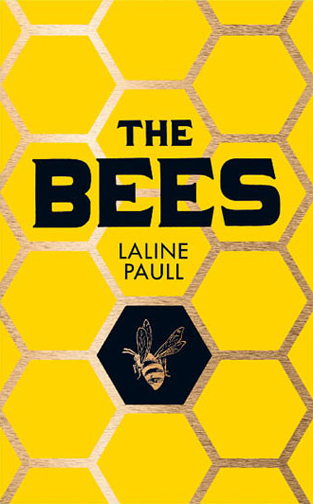 Book cover of 'The Bees' by Laline Paull, a yellow hive pattern with a bee