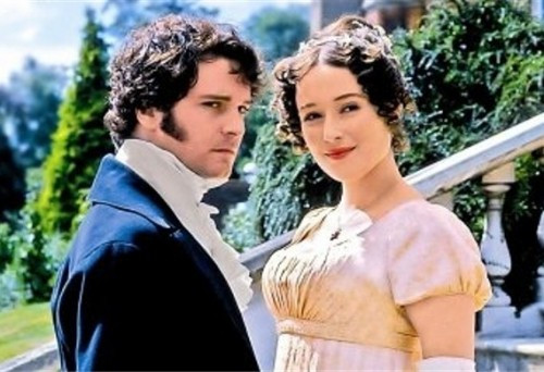 An image of Mr Darcy and Elizabeth Bennett smiling at the camera