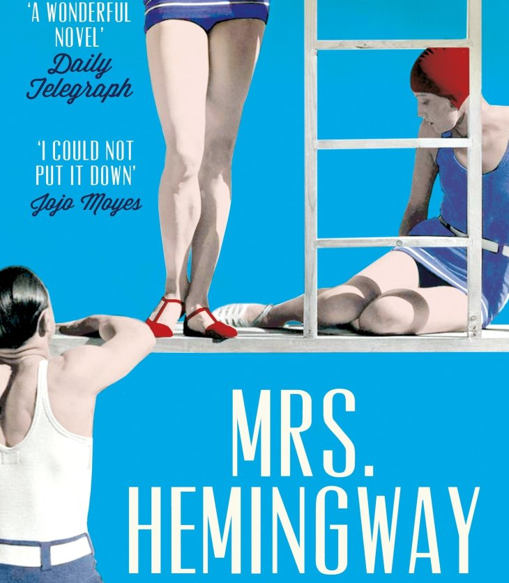 Book cover of 'Mrs Hemingway' by Naomi Wood, featuring cartoon people in bathing suits