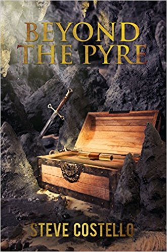 Book cover of 'Beyond the Pyre' by Steve Costello, featuring an old chest and sword
