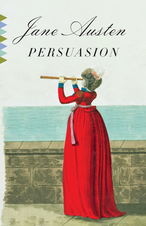 Book cover of 'Persuasion' by Jane Austen, featuring a woman looking through a telescope