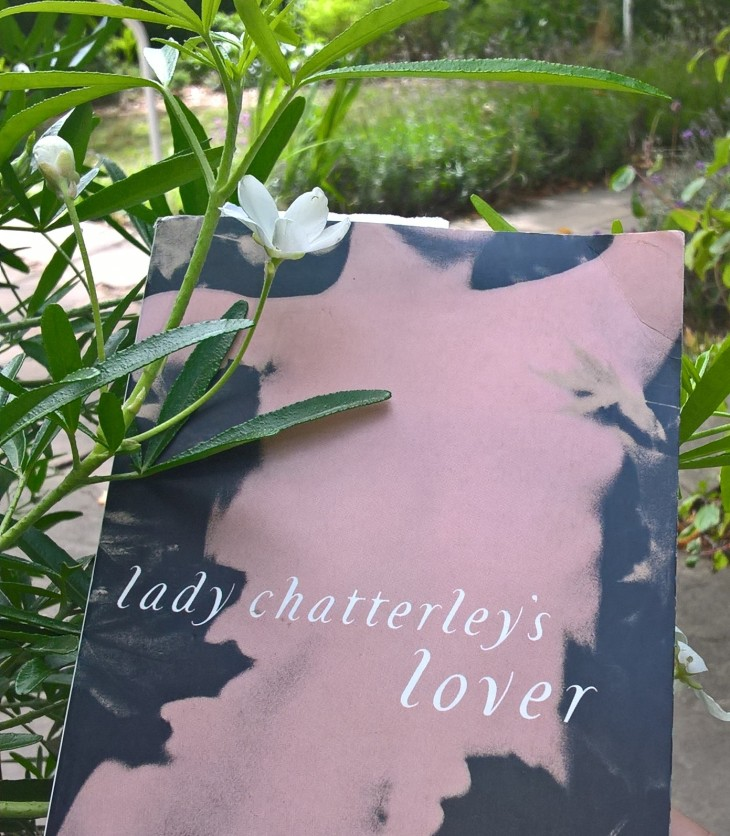 Book cover of Lady Chatterley's Lover in a garden