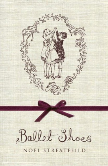 Book cover of 'Ballet Shoes' by Noel Streatfield, a drawing of three little girls