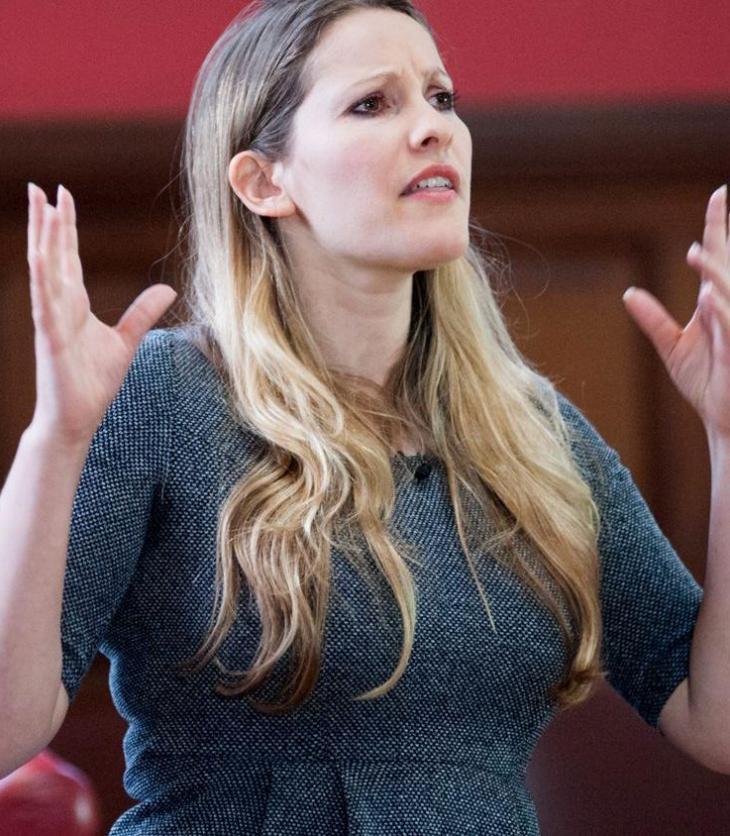 Laura Bates, feminist activist, addresses a crowd