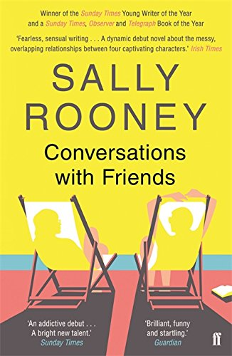Book cover of Conversations with Friends, featuring a drawing of two people on sun lounges