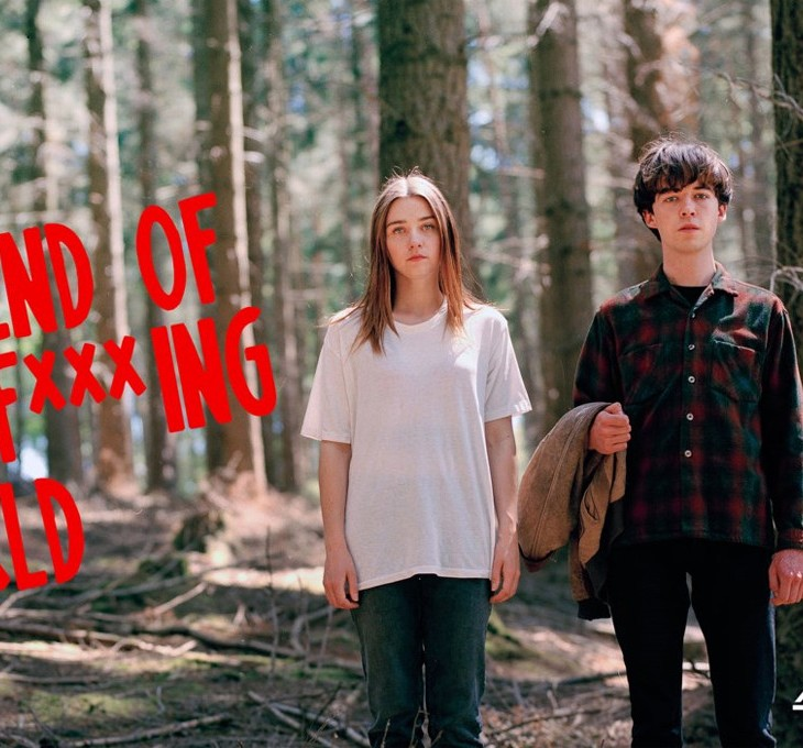 Poster for The End of The F***ing World, featuring a young man and woman in the middle of trees
