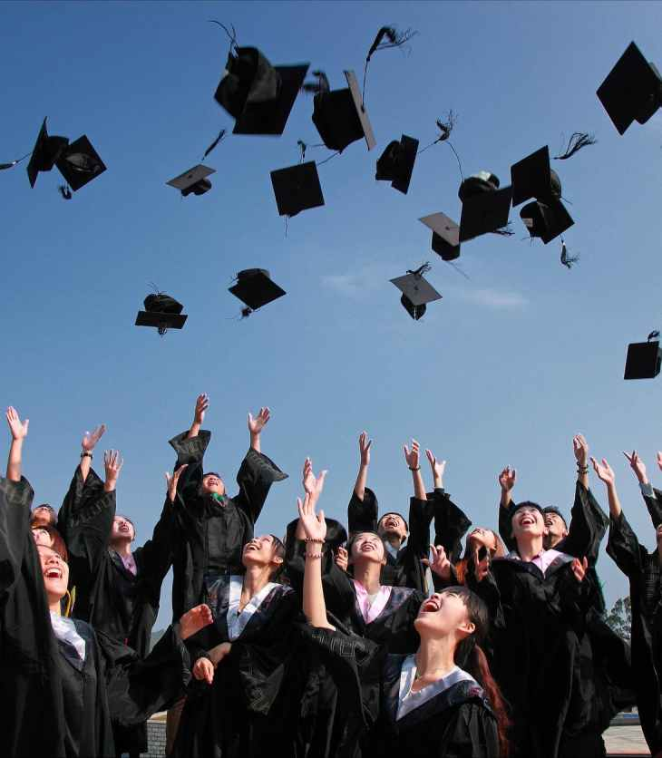 Students throw their caps in the air at graduation