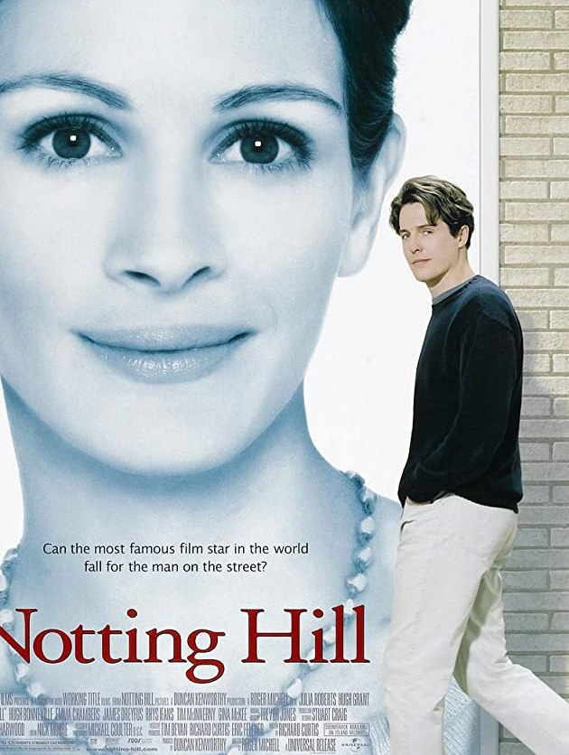 Film poster for Notting Hill, featuring Hugh Grant and Julia Roberts