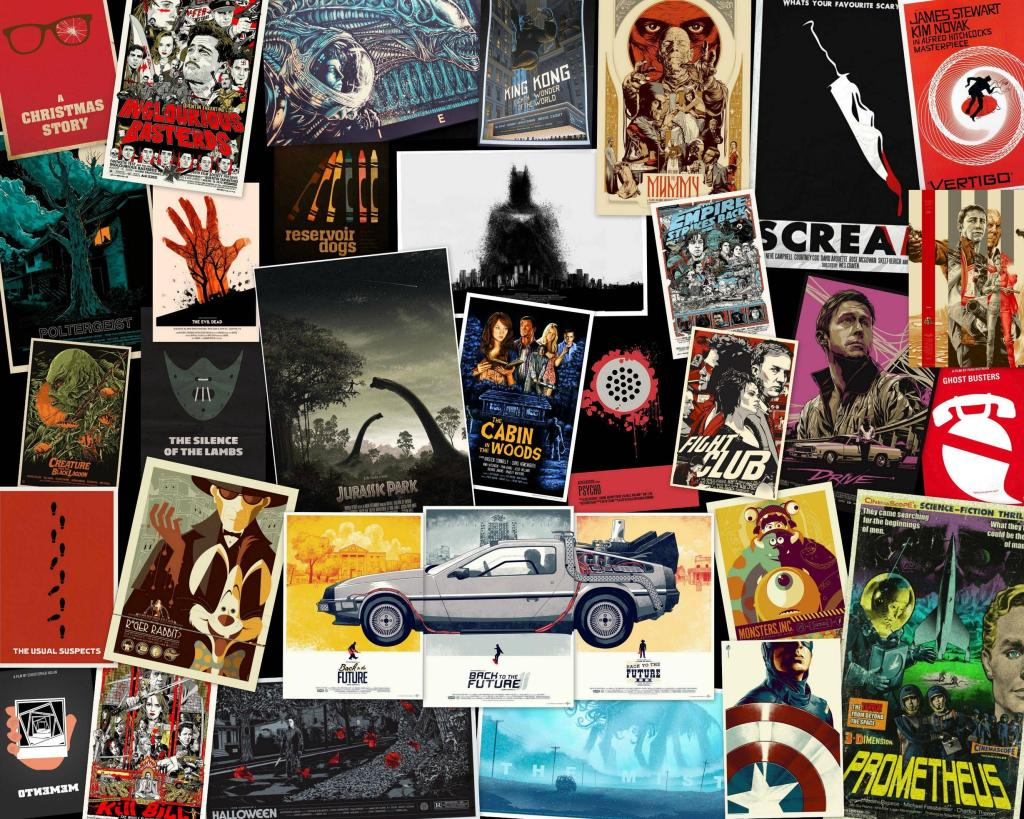 A medley of movie posters, including 'Fight Club' and 'Scream'.