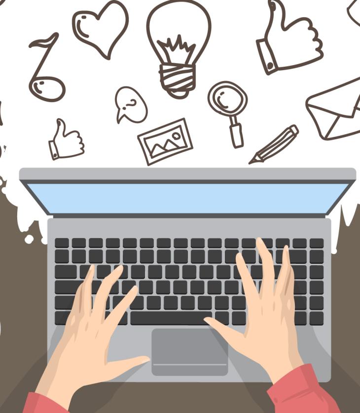 Cartoon person using a laptop
