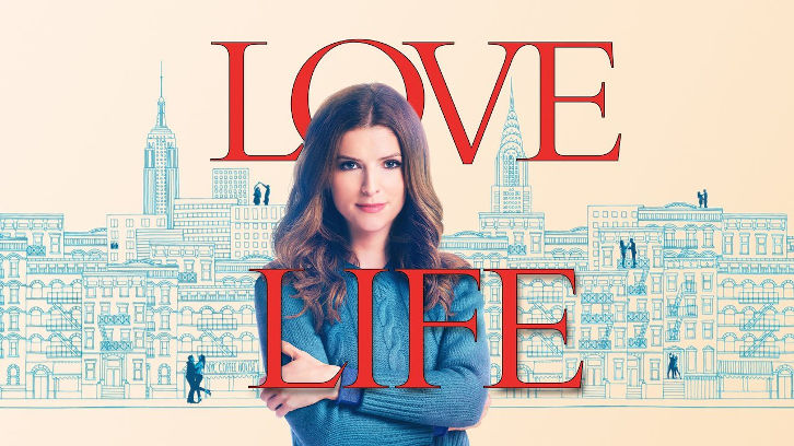 A poster from the series 'Love Life'. Anna Kendrick looks at the camera with a background of a pencilled city.