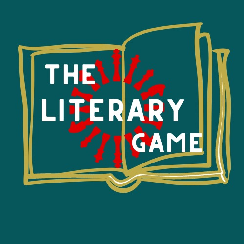 "The Literary Game logo, ""The Literary Game"" with a book in the background"