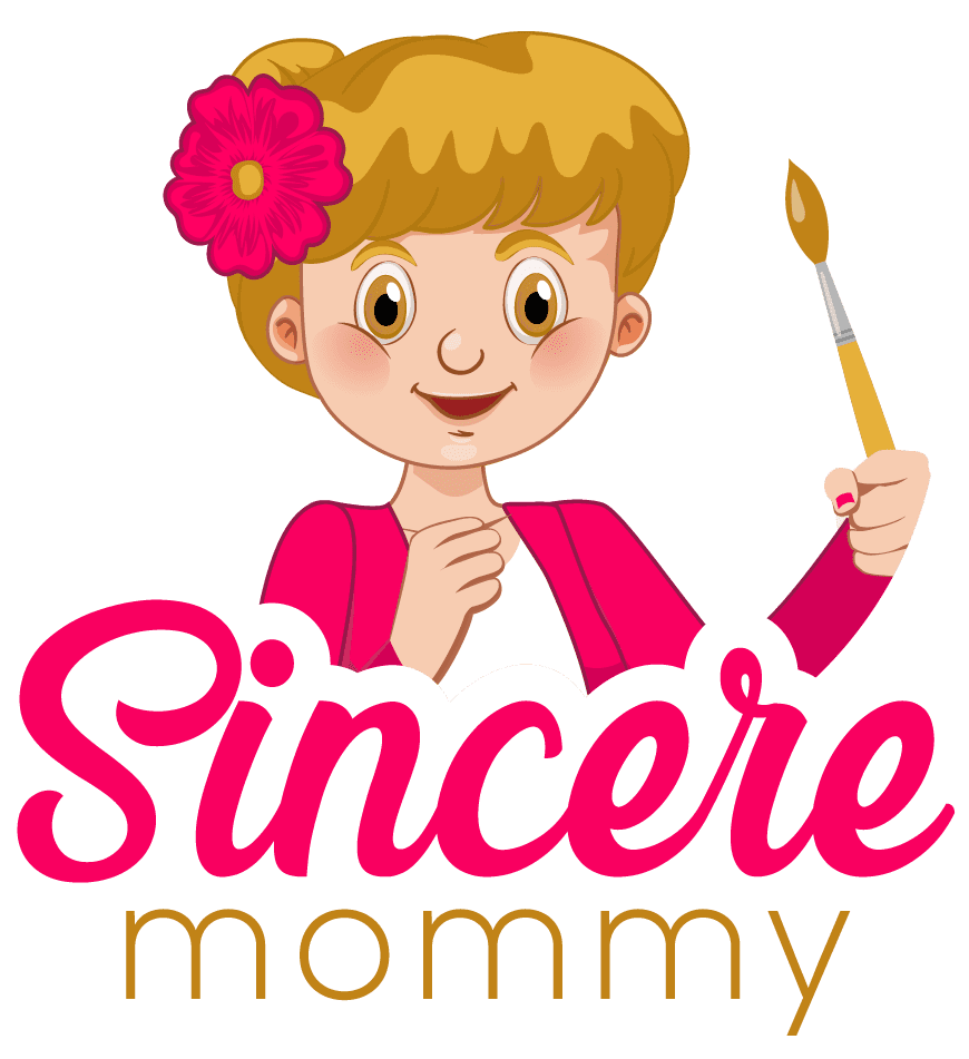 "A cartoon woman holds a paintbrush, with the words ""Sincere Mommy"" below. A logo for a blog by the same name,"