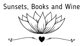 Sunsets, Books, and Wine blog logo, with a lotus flower