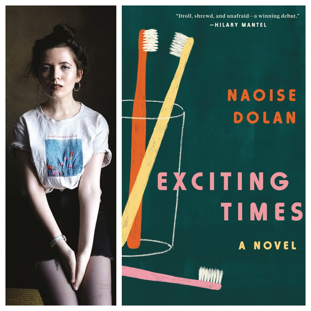 The book cover of 'Exciting Times' by Naoise Dolan, with a picture of the author next to the cover.