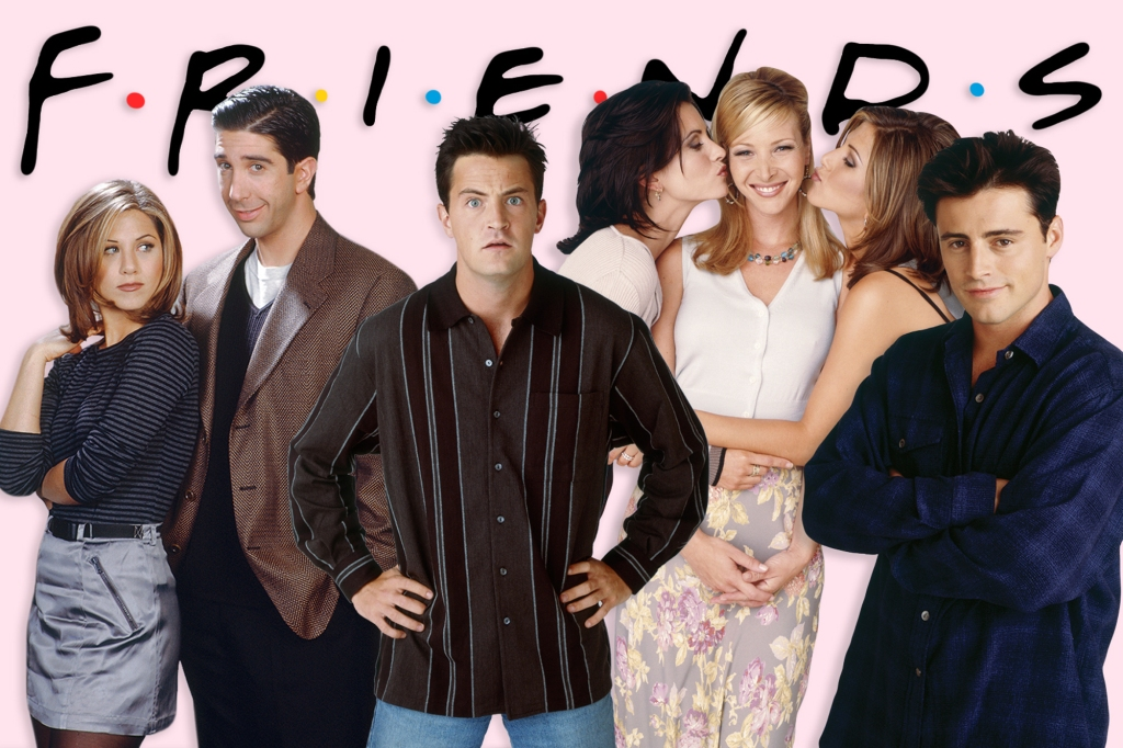 The characters from the show 'Friends' pose for the camera.