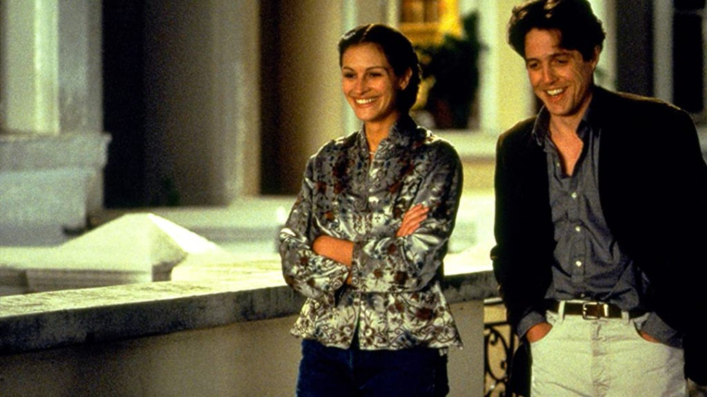 A still from Notting Hill of Julia Roberts and Hugh Grant.