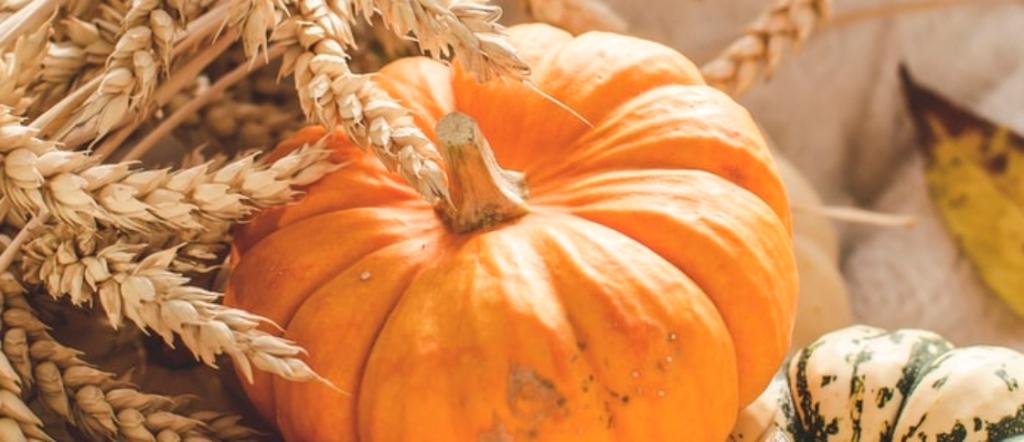 A pumpkin beside a hay bale.