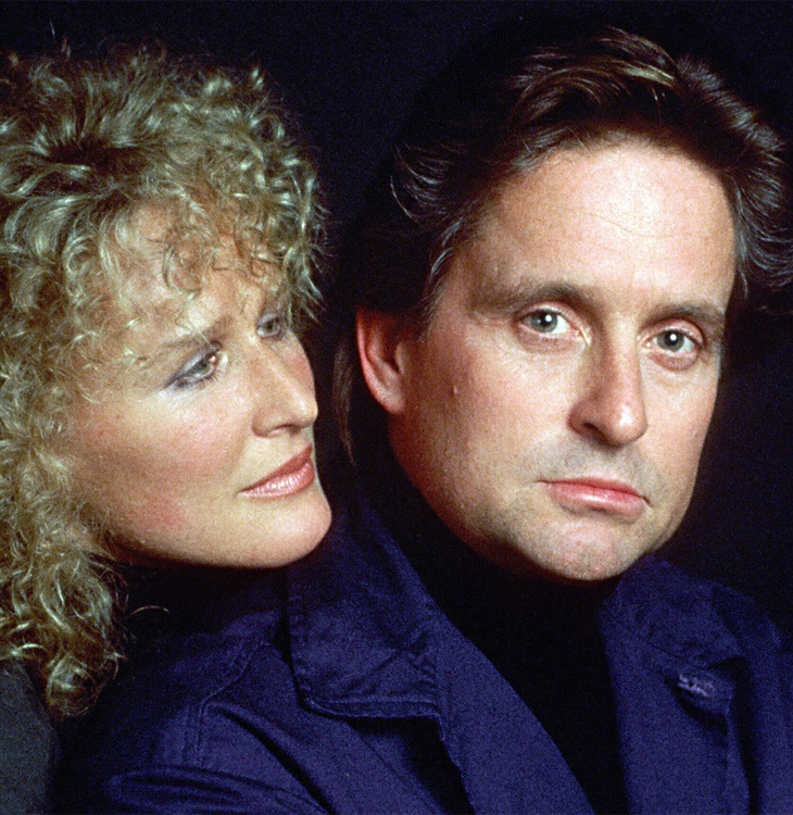 Image from 'Fatal Attraction' of woman looking over man's shoulder