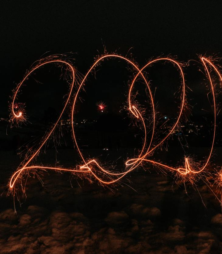 """Sparklers spell out """"2021"""""""
