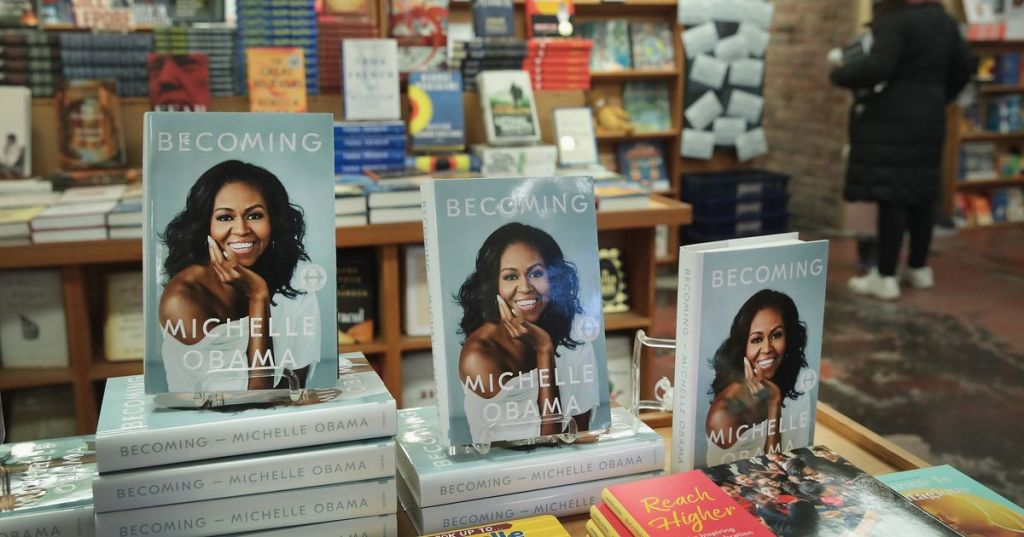The inspirational book 'Becoming' by Michelle Obama is on sale in a bookshop.