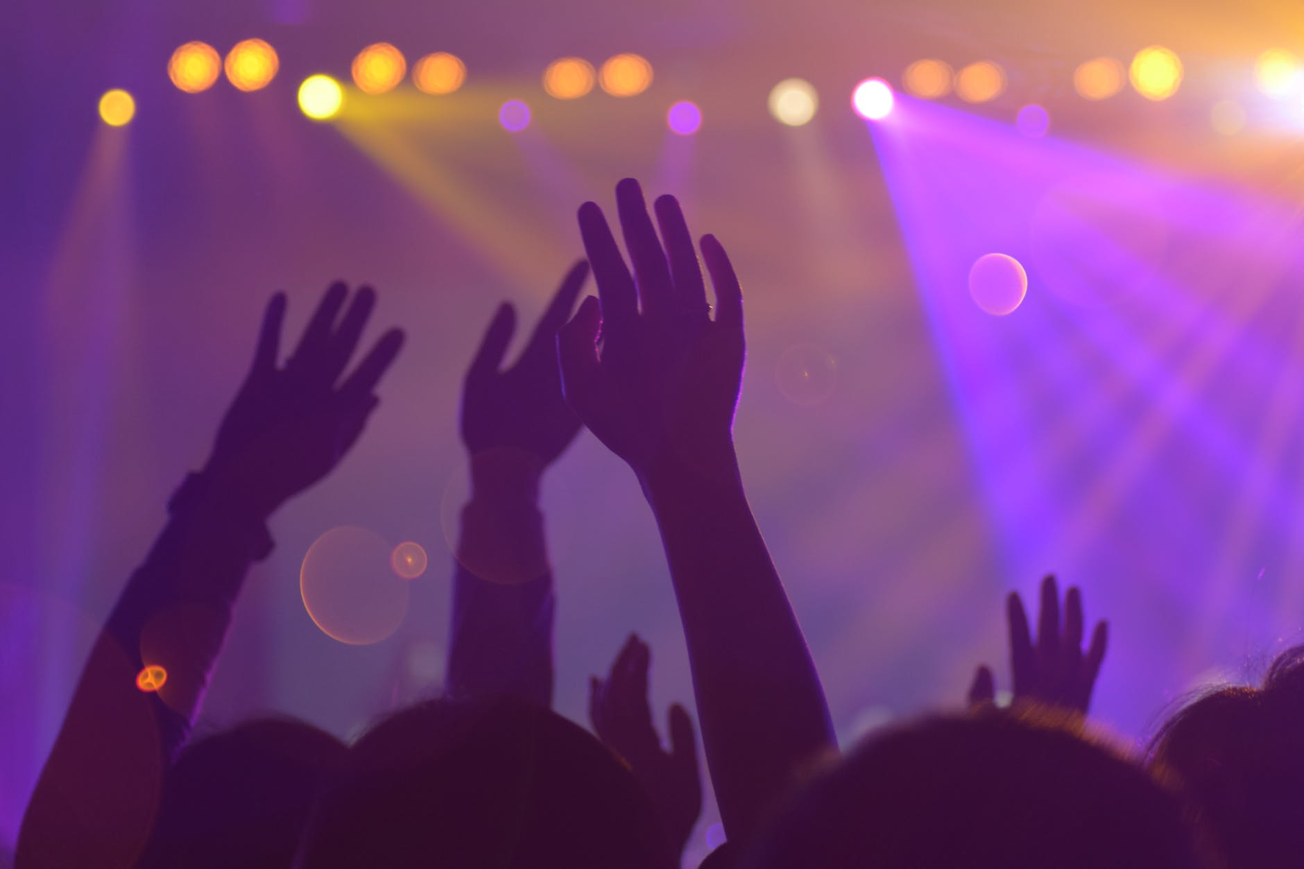 Hands raised in a busy club