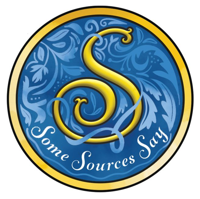 """Logo for """"Some Sources Say"""" blog, a yellow """"S"""" on a blue background."""