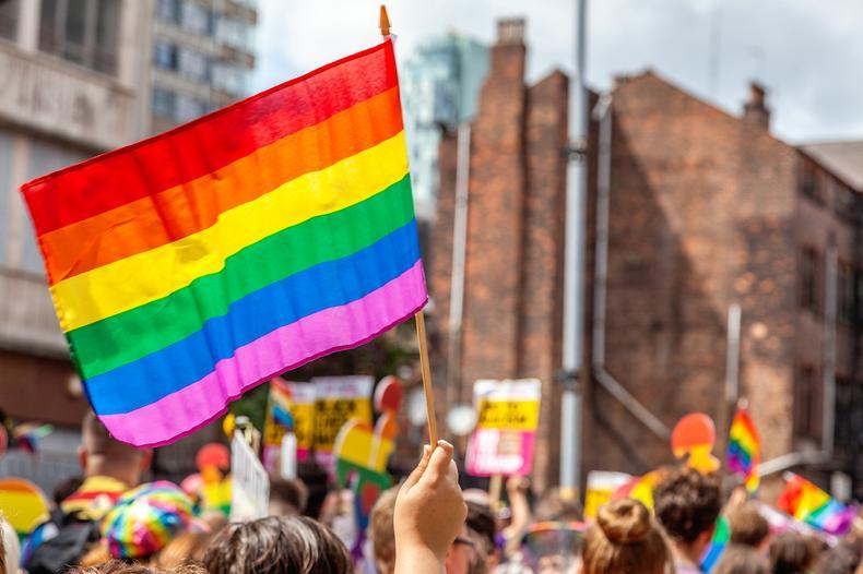 An image of the top of a Pride march, hands holding Pride flags up in the air