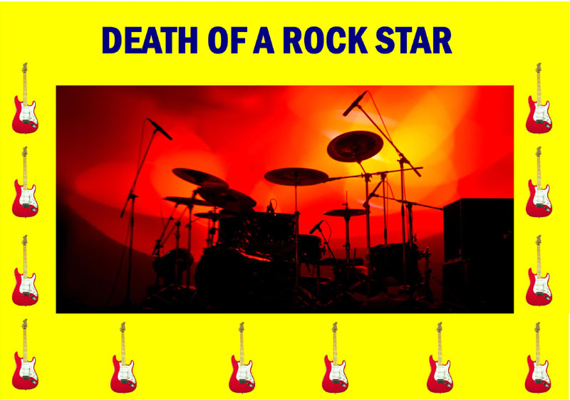 """""""Death of a Rock Star"""" game image from Play Murder Mystery website."""