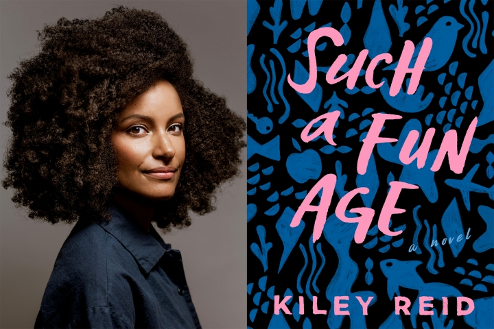 An image of the author Kiley Reid next to the book cover for her novel 'Such a Fun Age'