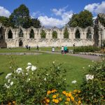 Museum Gardens in York, featuring the ruins of an old abbey.