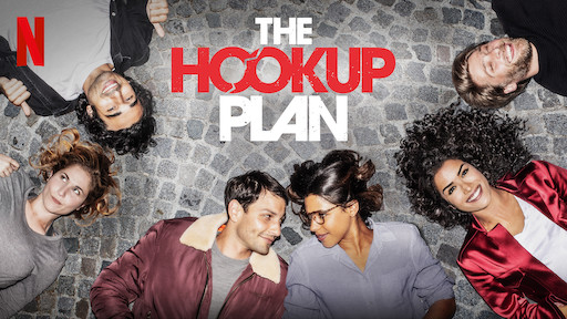 6 friends lay on the floor and laugh for the Netflix poster of 'The Hook-Up Plan' series