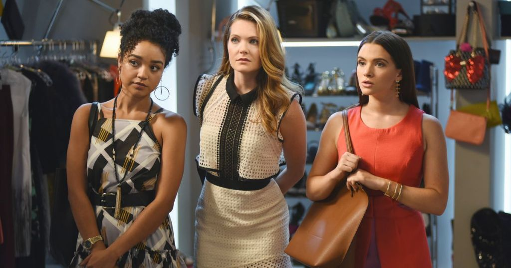 The three main female friends from 'The Bold Type' series stand in the fashion closet