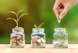 Three jars with coins and shoots growing out of them. A hand puts a coin in the emptiest jar.