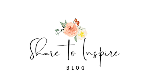 Share to Inspire blog logo, with flowers above the blog name
