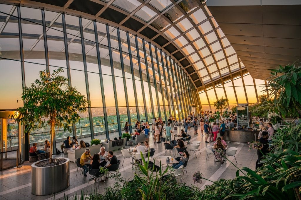 Sky Garden in London, showing a wide open window and people eating in a restaurant