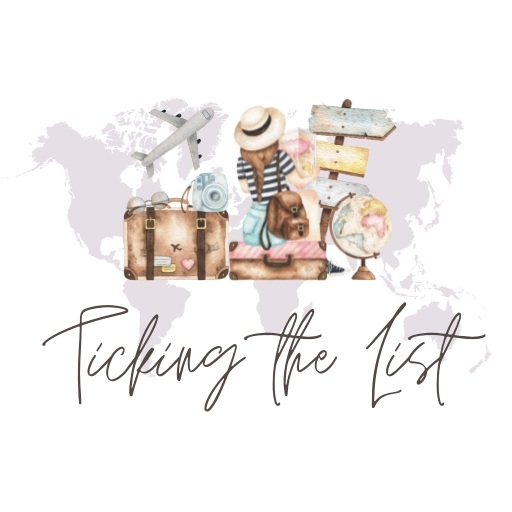 """Logo for Ellie's blog """"Ticking the List"""" which features a drawing of a young woman in front of a grey map of the world."""